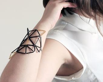 Black Gold Statement Bracelet - Contemporary Geometrical Cuff - Designer jewelry