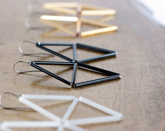 Minimal Black Triangle Earring- Rhombus Himmeli inspired earrings