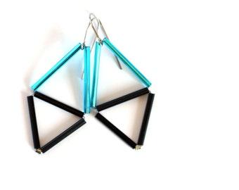 Triangle Earrings- Geometric Himmeli inspired - Minimalist glass earrings-Sky blue black