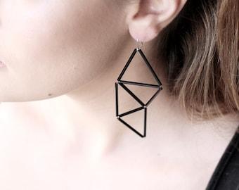 Black Edgy Geometric Earrings- Statement Trianlge Earrings- Contemporary Jewelry