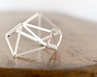 Geometric Bracelet- Prism Faceted Himmeli Inspired- Contemporary cuff women bracelet- White-Pink