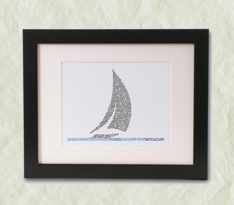 Nantucket Sailboat Word Art Print