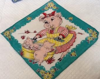 Vintage Child's Hankie Childs Hankie Hankerchief Pig Piggy Piglets Flowers Adorable