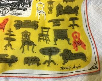 Vintage TAMMIS KEEFE Hankie Hanky Handkerchief Yellow, Orange, Brown with Furniture