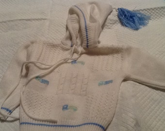 Vintage Zip Up Knit Hoodie Hooded Baby Boy White Sweater with Trucks Design White and Blue Carriage Boutiques 9 Mos