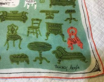 Vintage TAMMIS KEEFE Hankie Hanky Handkerchief Green, Orange, White with Furniture