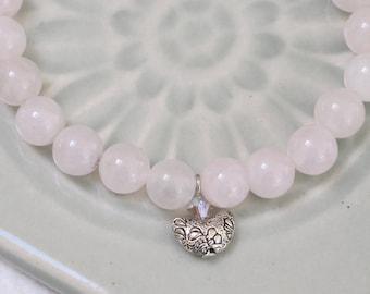 UU Chalice Bracelet, Rose Quartz Pale Pink Gemstone beads, Unitarian Universalist, Swarovski crystal, Pewter crescent, gender neutral gift
