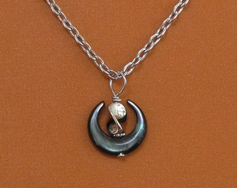UU Chalice Pendant, Black Mother-of-Pearl Crescent, Unitarian Universalist, twisted silver metal flame bead, optional chain