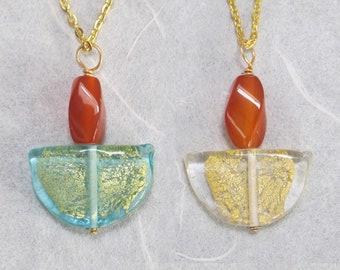 UU Chalice Pendant, Carnelian Gemstone Flame, Czech glass crescent with gold foil, Choose clear or aqua, Unitarian Universalist jewelry,