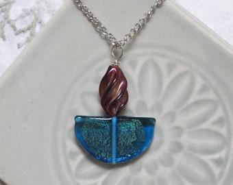 UU Chalice Pendant, Optional Chain, Unitarian Universalist jewelry, Czech glass crescent, rare bead Cherry Brand twisted glass