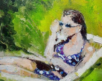 Girl in Garden 2, Original Mixed Media Painting on Board