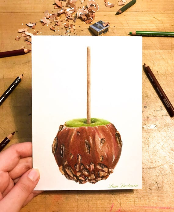 Inktober Caramel Apple Sketch Etsy