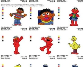 20 sesame street embroidery designs instant download