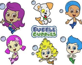 9 bubble guppie machine embroidery designs instant download