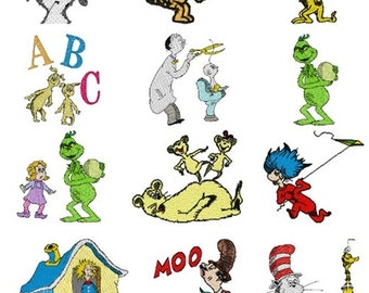 35 dr suess machine embroidery designs instant download