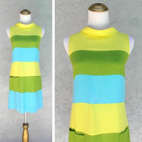 Mod Mini Dress, Vintage 60s Mondrian Style Mini Dr