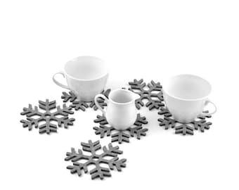 Felt coasters snowflakes shape FS1, six elements