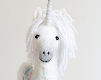 Unicorn - Felt Toy, Felted White Handmade Toy Marionette Puppet Stuffed Mythical animal horse baby shower gift nursery decor. white, pastel.