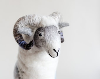 Felted Ram - Hugo.  Art Toy Marionette Sheep Handmade Puppet Felt Stuffed Toy gift kids Waldorf  baby shower gift nursery decor white blue.