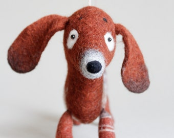 Soft Toy Dachshund - Napa, Felted Toy gift  for kids Puppet handmade  stuffed dog Marionette cute animals, snowflake embroidery. brown