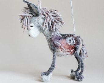 Frankie - Felt Donkey. Nursery decor, Art Toy. Felted Toys, Marionette,  Felted Animals, Felt Toy. grey gray silver. MADE TO ORDER.