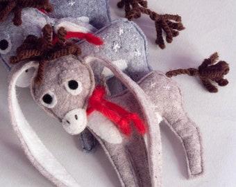 Christmas Tree Decoration. Nestor - The small Long-Eared Christmas Donkey. Art Toy. Christmas Ornament.  Xmas Tree Decoration. Felt toy.