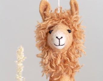 Felt Llama - Nellie, Art Marionette Felt toy Puppet for kids Handmade Stuffed plush Toy, Alpaca, nursery decor, toys for Toddler Kids