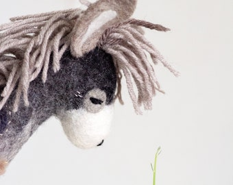 Theo - Felt Donkey, Felt Toy,  Stuffed Donkey Toy Handmade Felt animals, Unique doll, Puppet, Marionette, minimalist design, stuffed toy