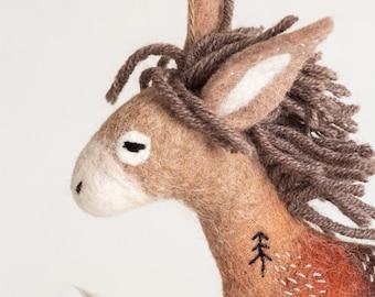 Felt Donkey - Runner, Felt Toy, Handmade Felt animals, Puppet, Unique art toy, Marionette, minimalist design, stuffed toy, natural colors.