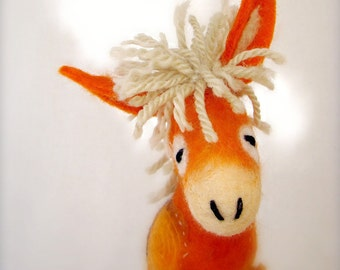 Felted Donkey - Augustina. Art Felt Toy Animal Marionette Puppet Felted Halloween Gift Stuffed plush for kids baby shower gift orange yellow