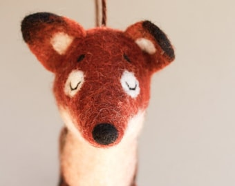Felt Fox - Rusty, Art Toy kids gift Fox plush Felted Toy Woodland  Puppet Felt Animal Felted Toy Woodland Animal. red orange. MADE TO ORDER.