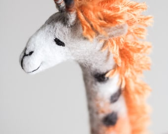 Felt Giraffe - Gerbera. Waldorf Toy, gift for kids Felted Toy Stuffed soft animal plush giraffe Felted Toy African safari animals Marionette