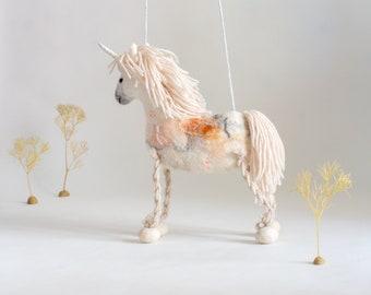 Unicorn Felicity - Felt Toy, Felted White Horse Handmade Toy, Marionette Puppet, Stuffed Mythical animal, baby shower gift, nursery decor