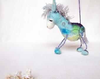 Marino - Felt Donkey Art Marionette Handmade Puppet Felted Animals Toy. blue aqua sea mint turguoise pastel aquamarine sky. MADE TO ORDER.