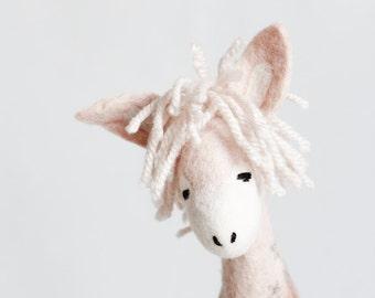 Felt toy, Sofia - 100% Organic toys Felt Donkey waldorf doll soft stuffed  toy Plant Dyed, Puppet Marionette toy, baby shower gift, pink