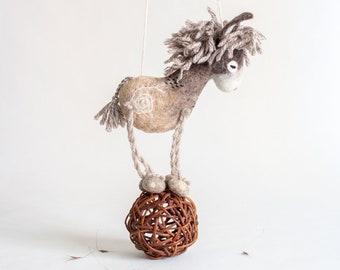 Danny - Organic toy, Small Felt Donkey, Felt Toy, Undyed Wool , Handmade gift, Newborn gift, Marionette. minimalist design. neutral