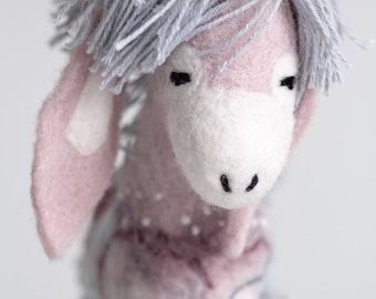 Felt Donkey - Wilhelmina. Felted Toy. Felted Animal Soft toy plush Puppet, marionette, soft gift for kids Handmade nursery room decor .