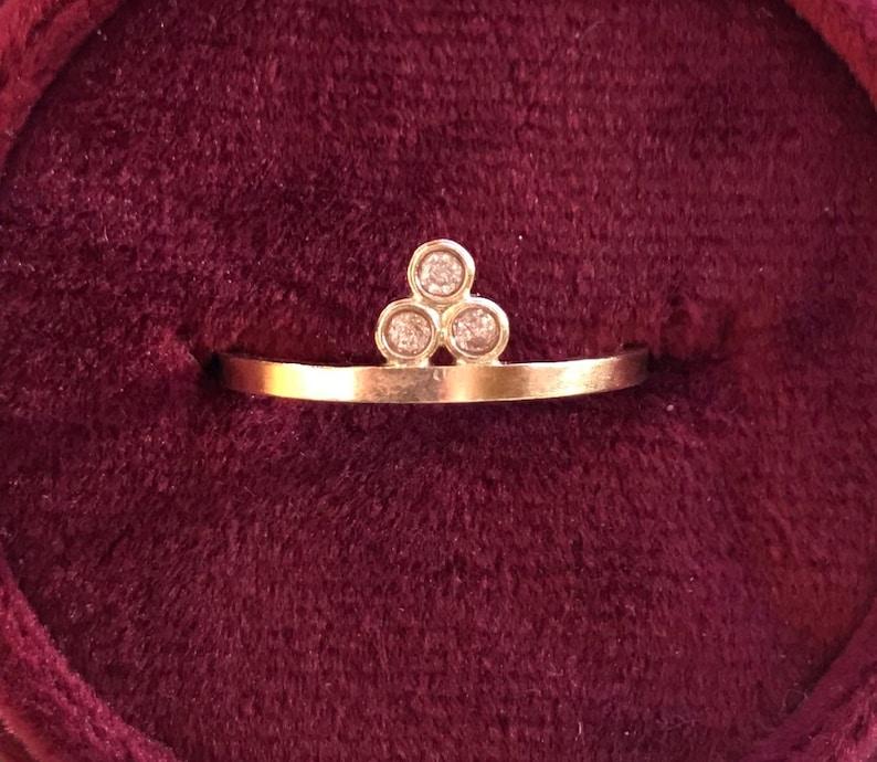 14kt solid gold three diamond dainty delicate statement gemstone ring