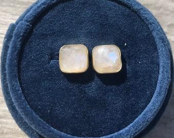 Rainbow moonstone square dainty simple gold vermeil studs