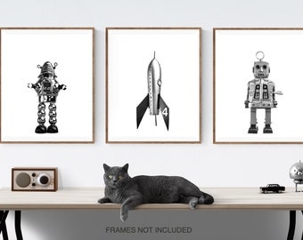 Set of 3 Retro Robot and Rocket Space Themed Wall Art, Prints or canvas,  outer space nursery decor