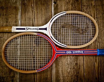 wall hanging Vintage old wood tennis racket,distressed worn old racket game room decor blue white net star sport decor