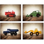 Set of Four Construction Digger Photo Prints in Primary Colors on Wood, Boys Room decor, Construction Trucks