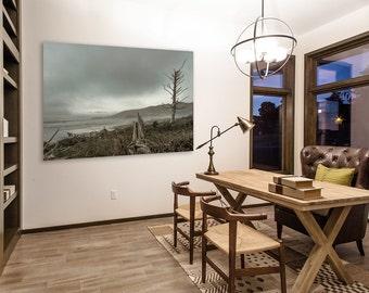 Stormy Grey Oregon Coast Beach Photo, Office Decor, Wall Art, High Quality  Fine Art Print
