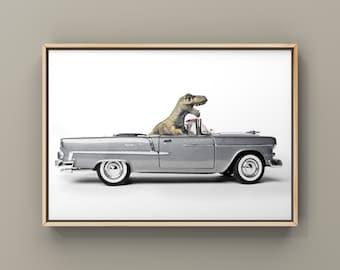 Tyrannosaurus Driving 55  Chevy Bel Air convertible, Photo Print, Boys Room Decor, Dinosaur Art, print or canvas