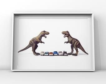 T-Rex Car face off, Dinosaur, Photo Print, Boys Room Decor, Dinosaur Art, Dinos and cars, print or canvas
