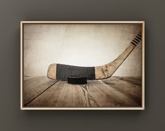 Vintage Hockey Stick and Puck on wall art, Ice hockey wall art, hockey prints, hockey decor