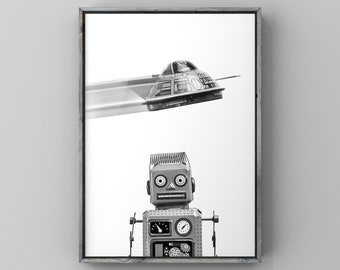 Retro Robot with Flying Saucer Bedroom Wall Art, Canvas or Unframed Print, Retro Robot Print, Outer space decor, Kids Space Room art