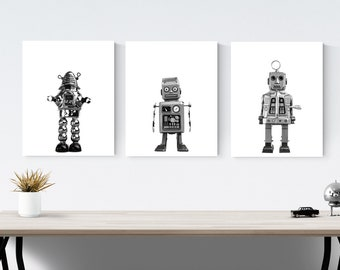 Set of 3 Retro Robots Space Themed Wall Art, Prints or canvas,  outer space kids room prints