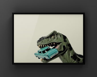 Tyrannosaurus  Car Chomp, Dinosaur, Photo Print, Boys Room Decor, Dinosaur Art, Dino eating car print or canvas