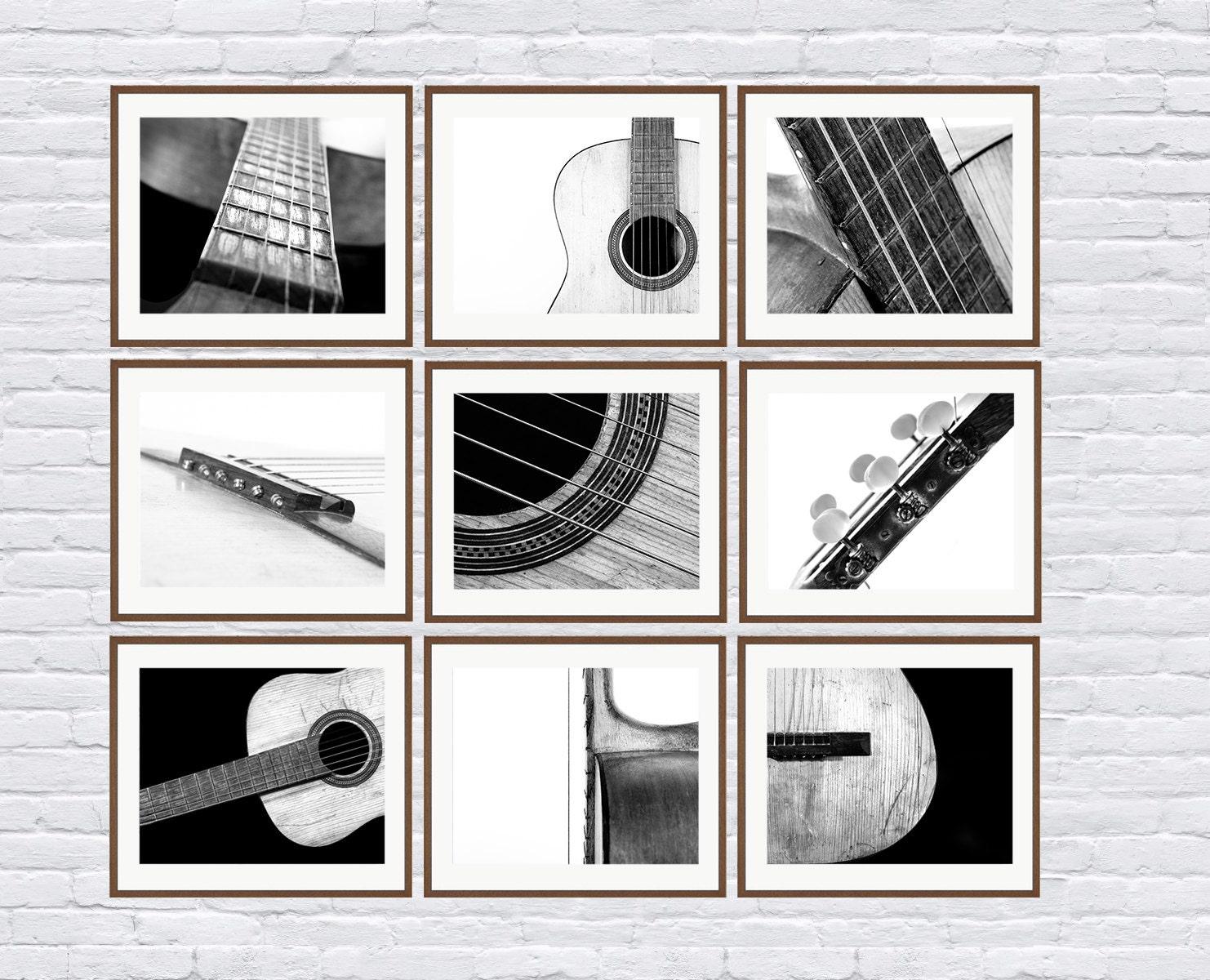 black and white vintage acoustic guitar parts set of nine etsy. Black Bedroom Furniture Sets. Home Design Ideas